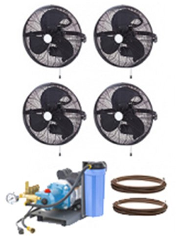 HIGH PRESSURE 1000psi - 18'' 4 Fan Wall Mount Mist Kits w/ unenclosed pump by Advanced Systems
