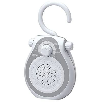 Jensen JWM-120 AM/FM Shower Radio with Splash Resistant Cabinet, Hook Handle and Built In AM/FM Antenna (Discontinued by Manufacturer) from Spectra Merchandising International, Inc.
