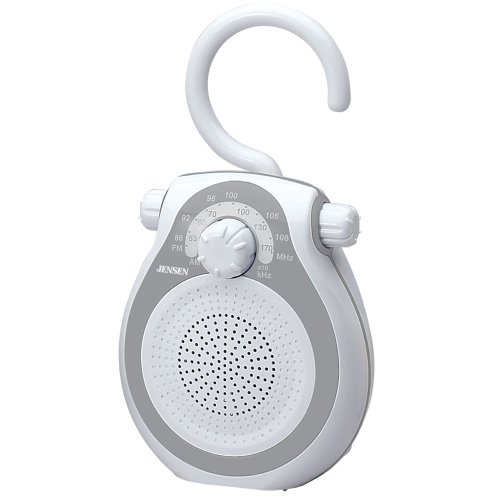 (Jensen JWM-120 AM/FM Shower Radio with Splash Resistant Cabinet, Hook Handle and Built In AM/FM Antenna (Discontinued by)