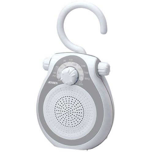 Jensen JWM-120 AM/FM Shower Radio with Splash Resistant Cabinet, Hook Handle and Built In AM/FM Antenna (Discontinued by Manufacturer) (Jensen Shower Radio)