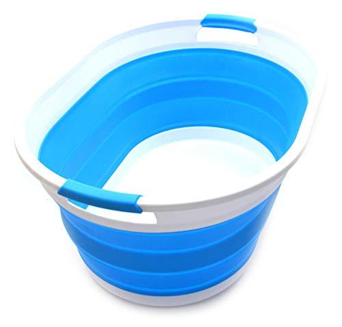 SAMMART Collapsible Plastic Laundry Basket - Oval Tub/Basket - Foldable Storage Container/Organizer - Portable Washing Tub - Space Saving Laundry Hamper (1, Sky Blue)