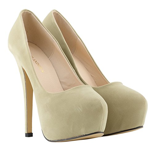 fereshte Women's Sexy Closed Toe Velvet Stiletto Heel Simple Dress Pump apricot aE2jV