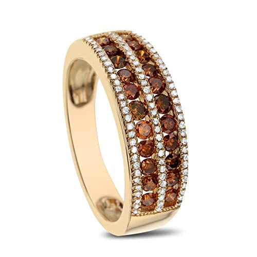 Chocolate Diamond Pave - DIAMOND COUTURE 0.60 CT 14K Yellow Gold Cognac Diamond and 0.15 CT White Diamond Ring, I-J Color, I1-I2 Clarity
