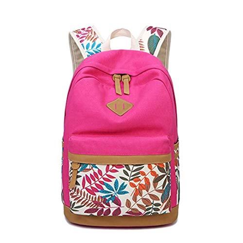 Hojas Eeayyygch Con Caqui Niños Rose Vintage Estampado Escolar Mochila color Para De Lona rIwrYqH