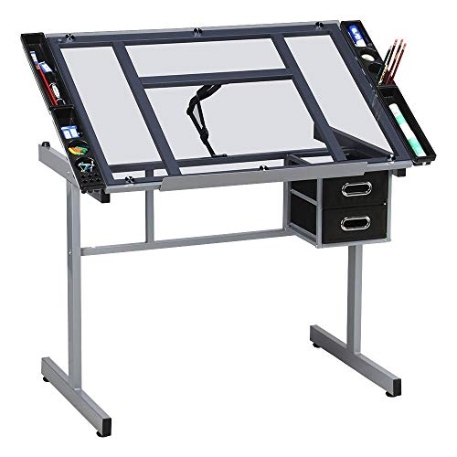 Yaheetech Adjustable Drafting Table Drawing Desk Art Desk Table Art Craft Station Study Table Tempered Glass Top w/ 2 Slide Rolling Wheels and Drawers ()