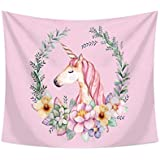Hot Sale Unicorn Tapestry Pink Wall Hanging for Unicorn Party Supplies, Baby Shower Girls Birthday Party Theme Backgrounds 60 x 50