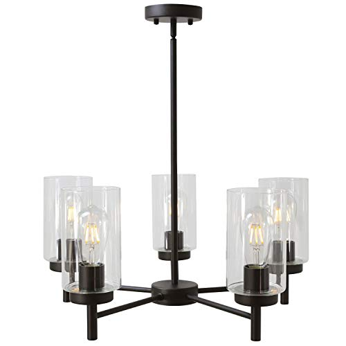 VINLUZ Contemporary 5-Light Large Chandeliers Oil Rubbed ()