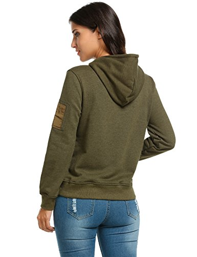 Plunge Hoodie Damen, Einfarbiger Casual Sweatshirt Damen Elegant, Armee Grün, M