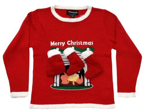 Fireplace with Stockings Ugly Christmas Sweater for Toddlers