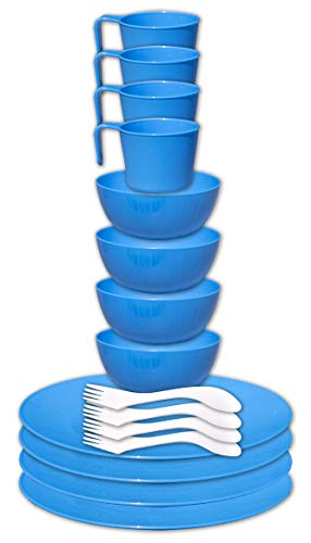 gear4U Camping Tableware Sets - Outdoor Dishes with Mesh Carry Bag - BPA Free - Plate, Bowl, Cup and Utensil for Hiking, Camping, Backpacking, Travel and Outdoor Survival - Blue 4 Person Set