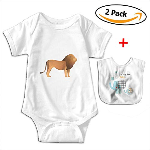 POOPEDD Polygonal Animals Lion Unisex Baby Short Sleeve Onesies Infant Jumpsuit Outfits Infant Bibs by POOPEDD