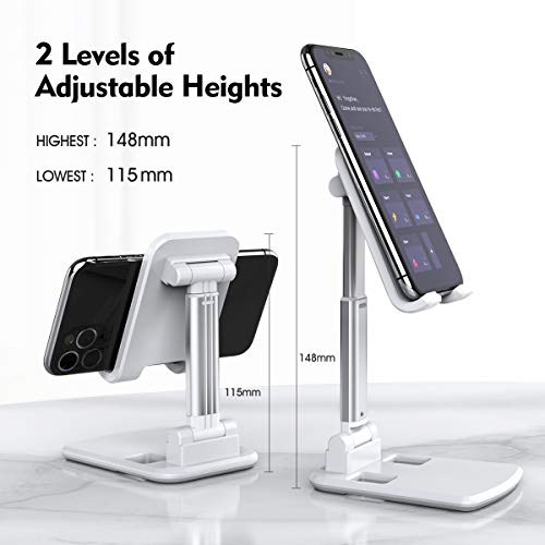 """licheers Adjustable Cell Phone Stand,Foldable Phone Desk Stand,Portable Phone Stand Holder,Compatible with iPhone 11 Pro/11 Pro Max/XR/X/Xs Max,Galaxy S10/S9/S8 and More 4-7"""" Devices(White)"""