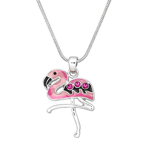 Liavy's Pink Flamingo Charm Pendant Fashionable Necklace - Hand Painted - Sparkling Crystal - 17