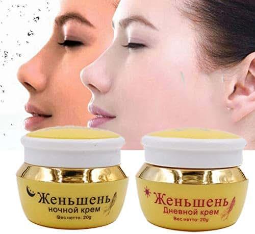 2 Pcs Ginseng Extract Whitening Freckle Day & Night Cream, Moisturizing Anti Freckle Melasma, Eliminating Dark Spot, Improved Dark Yellow Skin, Brightening Face Cream
