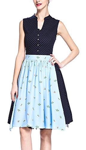 OTEN Women's Midi Dirndl Dress Rockabilly Cocktail Polka Dot & Blue Floral