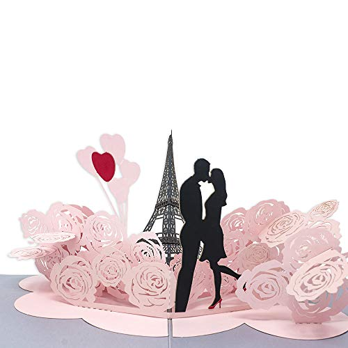Paper Love Eiffel Tower Love Pop Up Card, 3D Popup Greeting Cards, For Wedding, Anniversary, Valentine's Day, Love, Romance, Birthday]()