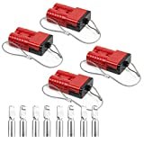 HYCLAT Red 50A 6-10 Gauge Battery Cable Quick Connect Disconnect Plug Wire Harness Plug Connector Recovery Winch Trailer (4 Pack)