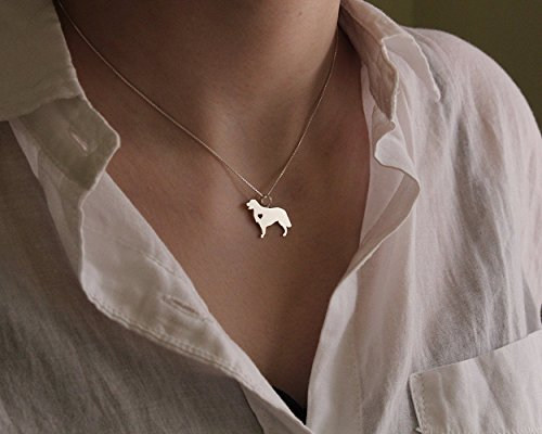 Golden Retriever necklace sterling silver dog breeds pendant w/Heart - Love Pet Jewelry Italian chain Women Best Cute Gift Personalized