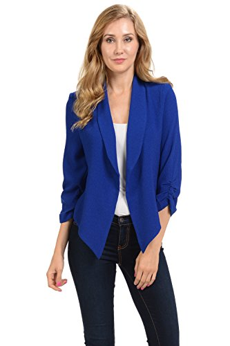 (Auliné Collection Womens 3/4 Sleeve Casual Work Lined Open Front Cardigan Blazer Royal Blue Medium)