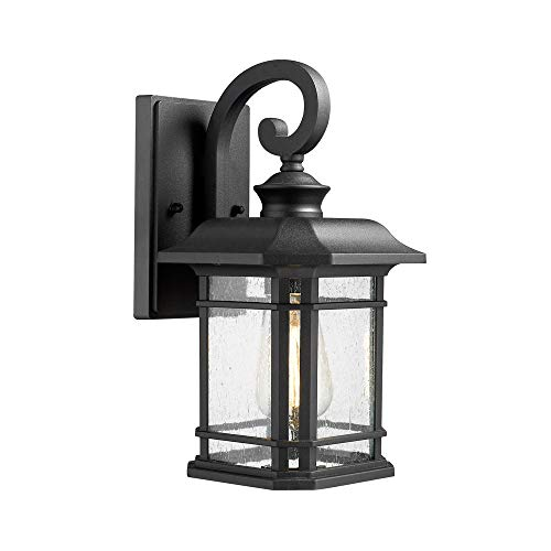 Emliviar Outdoor Wall Lantern Lights, 1-Light Exterior Wall Sconce Lamp, Black Finish with Clear Seeded Glass, 2084B BK