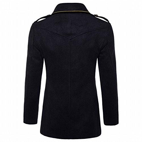 MU2M Black Men's Fit Breasted Fall Coats Solid Pea Outwear Slim Double Winter 664qnpH