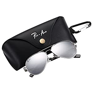 Pro Acme Small Polarized Aviator Sunglasses for Adult Small Face and Junior,52mm (Silver Frame/Silver Mirrored Lens)