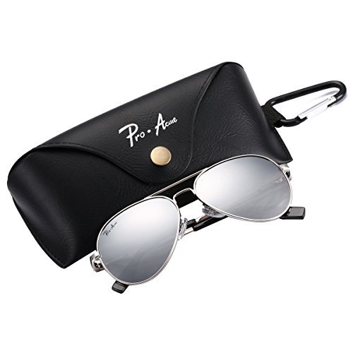 Pro Acme Small Polarized Aviator Sunglasses for Adult Small Face and Junior,52mm (Silver Frame/Silver Mirrored ()