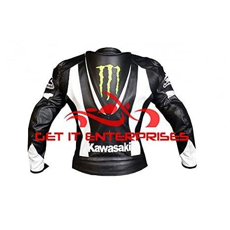 GIE - Chaqueta de piel para carreras de motocicletas, diseño de Kawasaki: Amazon.es: Coche y moto