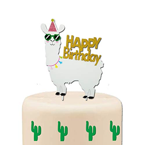 GmakCeder Llama Birthday Cake Topper Gold -