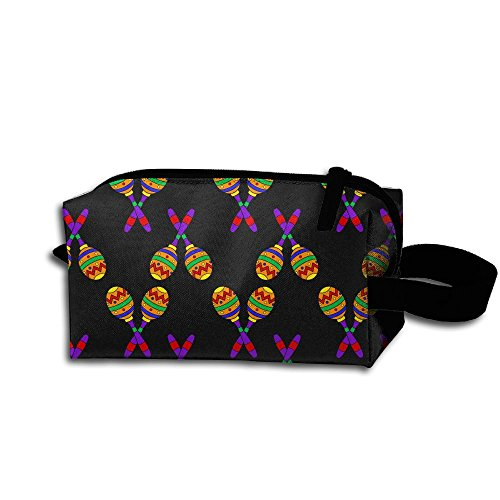 XIELIAN Mexican Maracas Instruments Makeup Bag Printing Travel Portable Cosmetic Bag Stationery Storage Pouch Bag Multi-function Bag For Girl Women Men