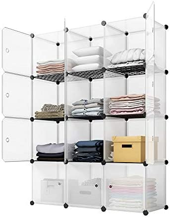 KOUSI Portable Storage Cubes-14 x14 Cube (12 Cubes)-More Stable (upload Metal Panel) Cube Shelves with Doors, Modular Bookshelf Units,Clothes Storage Shelves,Room Organizer for Cubby Cube