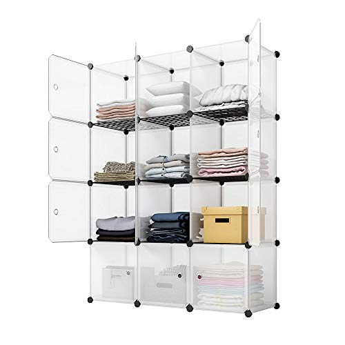 (KOUSI Portable Storage Cube Cube Organizer Cube Storage Shelves Cube Shelf Room Organizer Clothes Storage Cubby Shelving Bookshelf Toy Organizer Cabinet, Transparent White, 12 Cubes Storage)