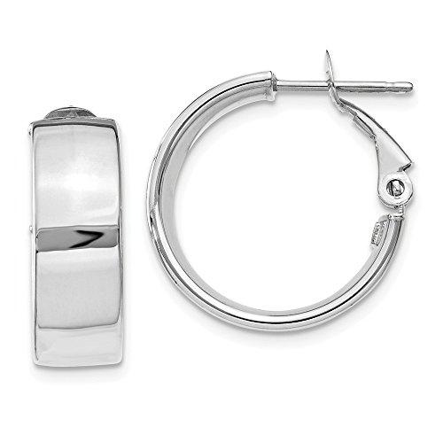 14k 6.75mm White Gold Omega Back Hoop Earrings Ear Hoops Set Fine Jewelry Gifts For Women For Her