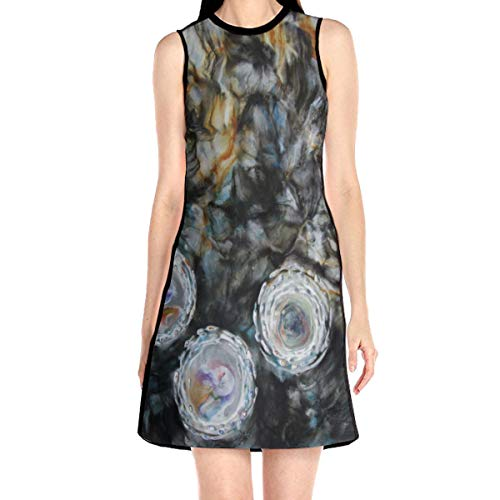 Laur Women¡¯s Sleeveless Scuba Sheath Dress Abstract Encaustic Print Casual/Party/Wedding Dress L White