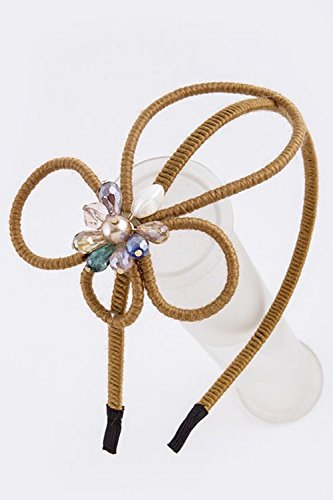 TRENDY FASHION JEWELRY FLOAL ACCENT THIN HAIR BAND BY FASHION DESTINATION | (Fashion Costume Jewelry Suppliers)