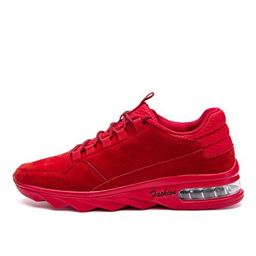 rouge noir Rouge Hommes sport gris cuir de antidérapant d'air chaussures Coussin chaussures décontractées z7zrIPg