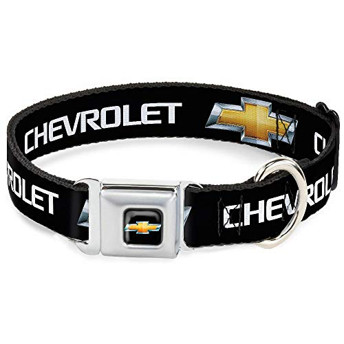 Dog Collar CHB-Chevy Bowtie Full Color Black/Gold - Chevy Bowtie Black/Gold Logo - Wide-Large 18-32