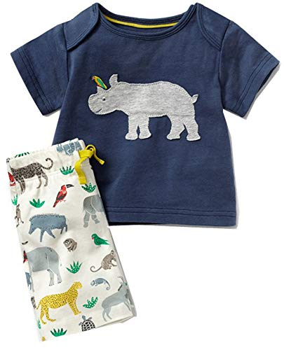 - DZRZVD Rhinoceros Boys Girls Kids Babys Toddler Infant Summer Cute Cotton T Shirts Tees Clothes Matching Set Outfits