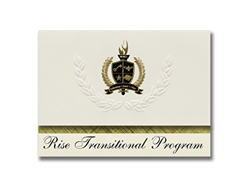 Signature Announcements Rise Transitional Program (Trumbull, CT) Graduation Announcements, Pack of 25 with Gold & Black Metallic Foil seal, 6.25