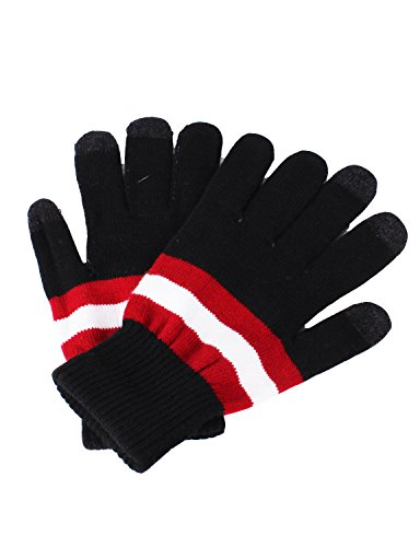 [10STAR11 Women's Colorful Winter Fleece Lining Gloves with Touch Screen Technology BLACKSTRIPE,O] (Pixel Gloves)