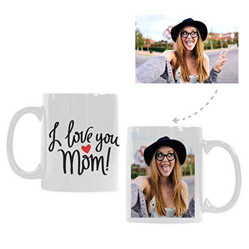 (Custom Funny Image White Coffee Mug, I Love You Mom Love Heart Classical Ceramic Tea Cup Mug Travel for Mother's Day,11oz)