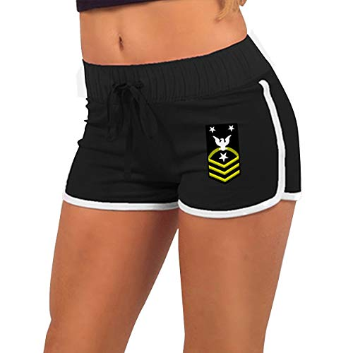 (Navy Command Master Chief Petty Officer (CMDCM) Shoulder Patch Rate Insignia Gold Women Running Yoga Gym Comfy Fitted Sexy Low Waist Hot Pants)