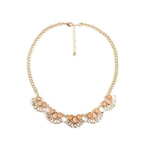 HeyGirl Delicate Luxurious Alloy Stone Short Choke Flower Chain Statement Necklace(Pink) from HeyGirl