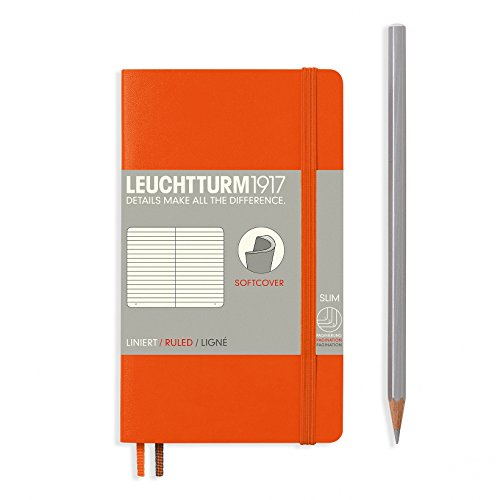 "Leuchtturm 1917 Soft Cover Small (A6) Pocket Journal, Orange, 3.5"" x 5.9"" - Ruled/Lined"