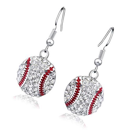 Elenxs 1 par joyería cristalina Chispeante Gancho del oído Anillos de Boda Regalo de Las Mujeres Mujeres Béisbol Muchacha de los Pendientes: Amazon.es: ...
