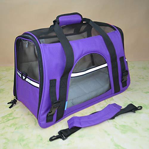 Purple L46X24X29CM purple L46X24X29CM YSYPET Pet Outdoor Portable Folding Lightweight Soft-Side Fabric Travel Carrier Bag Crate Package Breathable Seat Tote Breathable, purple, L46X24X29CM