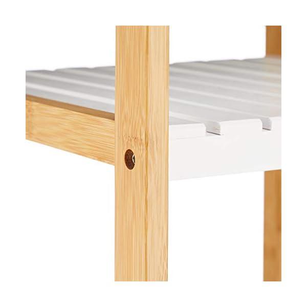 Relaxdays Étagère Salle de Bain Bambou, 5 Niveaux, sur Pied, Aussi comme Meuble de Cuisine, 140,5 x 34 x 33 cm, Blanc/Nature 10031457
