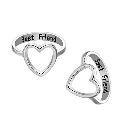 2 Pack Letter Best Friends Friendship Rings Hollow Heart Shape Engagement Rings for Women Girls Promise Wedding Rings Set (Silver, 5)