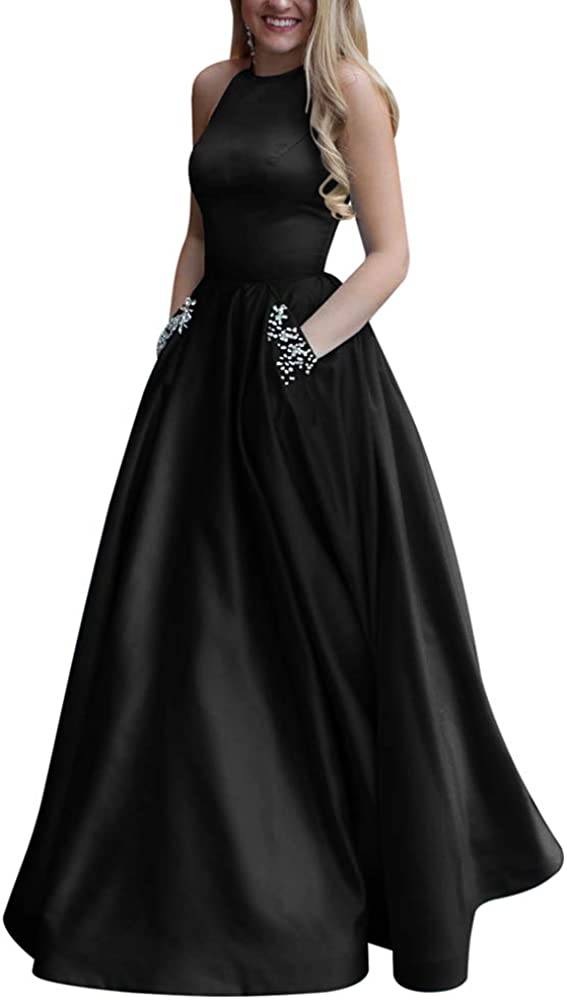 Yangprom Women's Long Satin Prom Dress A Line Open Back Evening Gowns