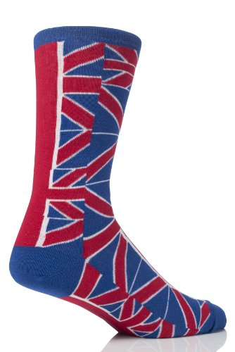 SockShop Kids 1 Pair Union Jack Design Cotton Rich Socks 10-13 Kids Red / White / Blue (Woven Kids Socks)